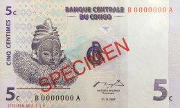 Congo 5 Centimes, P-81s (1.11.1997) - Specimen - UNC - Kongo