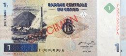 Congo 1 Franc, P-85s (1.11.1997) - Specimen Nr. 79 - UNC - Kongo