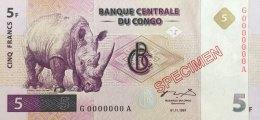 Congo 5 Francs, P-86s (1.11.1997) - Specimen - UNC - Kongo