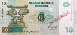 Congo 10 Francs, P-87s (1.11.1997) - Specimen - UNC - Kongo
