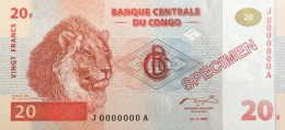 Congo 20 Francs, P-88s (1.11.1997) - Specimen - UNC - Kongo