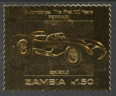 175490 Zambia 1987 Classic Cars 1k50 Ferrari In 22k Gold Foil Unmounted Mint - Zambia (1965-...)