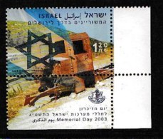 ISRAEL, 2003, Mint Never Hinged Stamp(s) , Memorial Day,, M1722,  Scan M17225, With Tab(s) - Israel