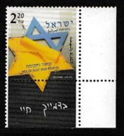 ISRAEL, 2003, Mint Never Hinged Stamp(s) , Holocaust, M1724,  Scan M17230, With Tab(s) - Israel