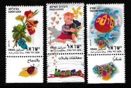 ISRAEL, 2003, Mint Never Hinged Stamp(s) , Greetings Wishing Stamps, M1733-1735,  Scan M17244, With Tab(s) - Israel