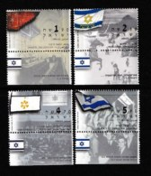 ISRAEL, 2003, Mint Never Hinged Stamp(s) , The Flag History, M1739-1742,  Scan M17248, With Tab(s) - Israel