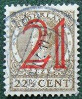 21 Ct Overprint Hulpzegel Wilhelmina NVPH 224 (Mi 228 Yv 222) 1929 Gestempeld USED NEDERLAND / NIEDERLANDE - 1891-1948 (Wilhelmine)