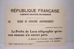 MAIRIE  DU CINQUIEME  ARRONDISSEMENT - PARIS Guerre De 1870   - AFFICHE -Musée De L'Affiche Et Du Tract - - Distrito: 05