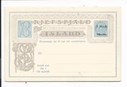 Island P 21 ** -  1 Gildi Auf  5 Aur  Ziffer Doppelkarte - Entiers Postaux