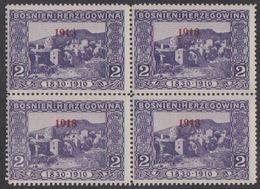 """Bosnia, 1918 Overprint, MNH Block Of Four, Left Upper Stamp Constant Flaw, """"1913"""" In Overprint - Bosnien-Herzegowina"""