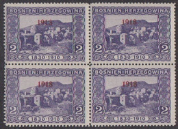 "Bosnia, 1918 Overprint, MNH Block Of Four, Left Upper Stamp Constant Flaw, ""1913"" In Overprint - Bosnia And Herzegovina"