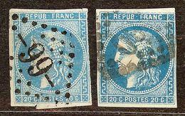 JOLI LOT 2 NUANCES BORDEAUX N°46 B 20c Bleu Obli Losange GC Cote 100€ PAS AMINCI - 1870 Emission De Bordeaux
