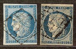 EXTRA LOT 2 CERES N°4 & 4a 25c Bleu & Foncé Oblitéré GRILLE Cote 115€ PAS AMINCI - 1849-1850 Cérès