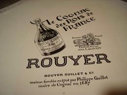 ANCIENNE PUBLICITE COGNAC ROUYER DES ROIS DE FRANCE 1952 - Alcoholes