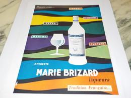ANCIENNE PUBLICITE MARIE BRIZARD A L EAU  1952 - Alcoholes