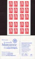 """CARNET Marianne De YSEULT YZ """"RETROUVEZ LA NOUVELLE MARIANNE"""" 20 Timbres DAB. Produit Très RARE Et Peu Proposé. - Usage Courant"""