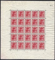 1921 Feuillet/Kleinbogen 5x5,  GD Charlotte De Face 15c. Carmin, Michel: 121, Neuf, Sans Charnière (2scans) - Blocks & Sheetlets & Panes