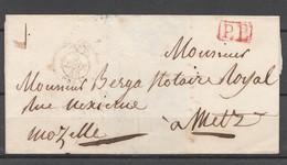 1840 - Paris Pour Metz En Port Payé (PP Rouge) Verso Cachet à Date Bleu (LF 10) - 1801-1848: Voorlopers XIX