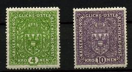 3536-Austria Nº 160b, 161b - 1918-1945 1ère République