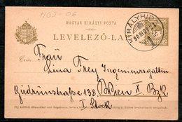 HGI-06 : Hongrie Entier CP Cachet  Kiralyhida 1908 - Entiers Postaux