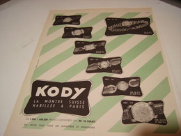 ANCIENNE PUBLICITE MONTRE KODY 1952 - Bijoux & Horlogerie