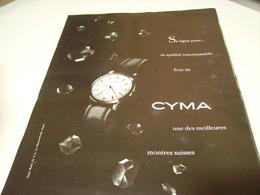 ANCIENNE PUBLICITE MONTRE  CYMA 1952 - Bijoux & Horlogerie