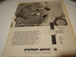 ANCIENNE PUBLICITE MONTRE ETERNA.MATIC 1956 - Bijoux & Horlogerie