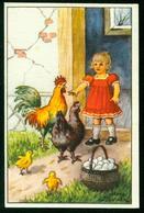AKx Künstlerkarte Sign. Jenny Nyström - Glad Påsk - 6,8x10,5 - Ostern Kind Eier Hühner Hahn - Ostern