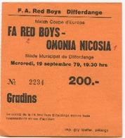 LUXEMBOURG - Football - Billet D'entrée - 1979 - FA RED BOYS - OMONIA NICOSIA - RARE Match Coupe D'Europe - - Soccer