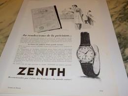 ANCIENNE PUBLICITE MONTRE ZENITH PRECISION 1954 - Bijoux & Horlogerie