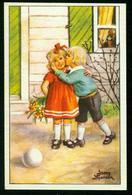 AKx Künstlerkarte Sign. Jenny Nyström - Glad Påsk  6,8x10,5  Ostern Kinder Ei Kuss - Ostern