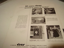 ANCIENNE PUBLICITE MONTRE KODY LE TOUT PARIS 1954 - Bijoux & Horlogerie