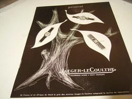 ANCIENNE PUBLICITE MONTRE JAEGER LE COULTRE PRIORITE 1953 - Bijoux & Horlogerie