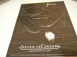 ANCIENNE PUBLICITE MONTRE JAEGER LE COULTRE ETANCHE 1953 - Bijoux & Horlogerie
