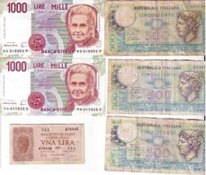 LOTTO 6 BANCONOTE DIVERSI PERIODI. - Monete & Banconote