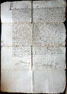 MANUSCRIT ANCIEN 1576 GRANDE DIMENSION  ACQUIS DE VIGNES ECRITURE LISIBLE  A DECHIFFRER UNE GRANDE PAGE - Manuscripts