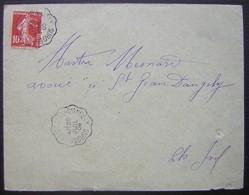 1909 Convoyeur Surgères à Saint Jean D'Angély, Belle Frappe - Marcofilie (Brieven)