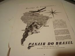 ANCIENNE PUBLICITE COMPAGNIE AERIENNE PANAIR DO BRASIL 1953 - Pubblicità