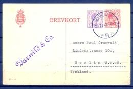 1921 , DINAMARCA , ENTERO POSTAL CIRCULADO , KJOBENHAVN - BERLIN - Brieven En Documenten