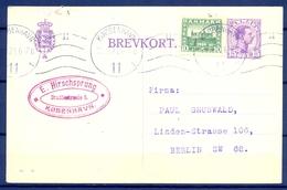 1921 , DINAMARCA , ENTERO POSTAL CIRCULADO , KJOBENHAVN - BERLIN , FRANQUEO COMPLEMENTARIO - Brieven En Documenten