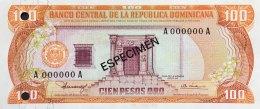 Dominican Republic 100 Pesos, P-122b1 (1980) - Specimen -  UNC - Dominikanische Rep.