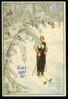 AK Künstlerkarte Sign. Jenny Nyström - Gott Nytt År - 7x10,5 - Gel. 1942 - Neujahr Schnee Frau Ski - Künstlerkarten