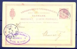 1894 , DINAMARCA , ENTERO POSTAL CIRCULADO , AARHUS - CHEMNITZ , LLEGADA - 1864-04 (Christian IX)
