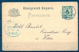 1892 , ALEMANIA - BAVIERA , ENTERO POSTAL CIRCULADO ENTRE NÜREMBERG Y VIENA , LLEGADA - Bavaria
