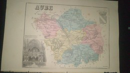 Affiche (gravure) - CARTE DE L'AUBE - Affiches