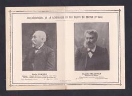 Carte Lettre Double Les Defenseurs De La Republique Et Des Droits Du Peuple Emile Combes Camille Pelletan Ed. Gras - Personaggi