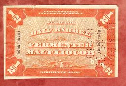 United States, Internal Revenue, Stamp For Half Barrel Fermented Maltliquor 1934 (55095) - Gebührenstempel, Impoststempel