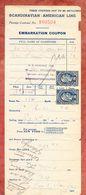 Scandinavian-American Line, U S Revenue Tax, Stamp Fixed To Embarkation Coupon 1925 (55096) - Gebührenstempel, Impoststempel