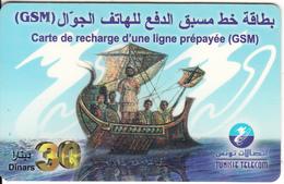 TUNISIA - Sailing Boat, Tunisie Telecom Recharge Card 30 Din, Used - Tunisie