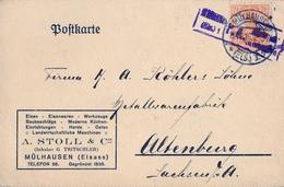 1916 , TARJETA POSTAL COMERCIAL CIRCULADA , MÜLHAUSEN - ALTENBERG - Cartas